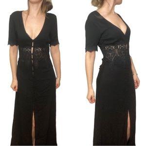 Long black lacy maxi dress